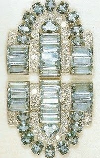 Aquamarine Cartier clip brooch