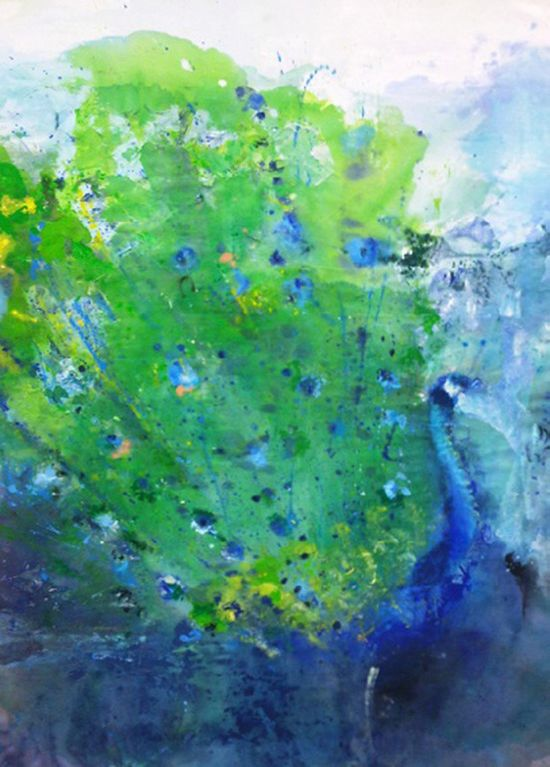 """Saatchi Online Artist: Lucia Ares; Mixed Media, Painting """"Peacock"""""""