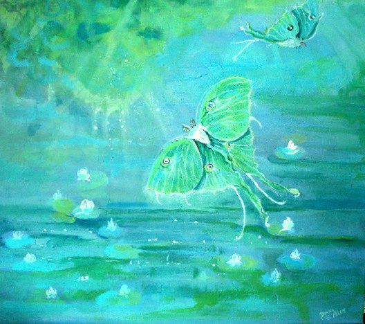 Art Original Acrylic Painting Luna Fantasy  Moths by bigapple60, $260.00
