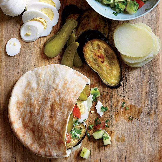 Israeli Roast Eggplant, Hummus and Pickle Sandwiches // More Great Middle Eastern Recipes: www.foodandwine.c... #foodandwine
