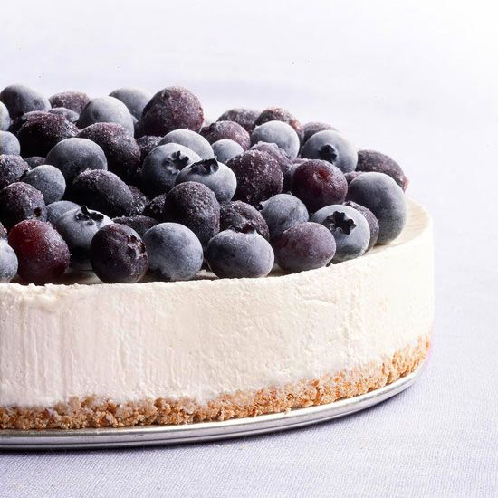 Cool off with this sweet Frozen Blueberry Cheesecake! More frozen dessert recipes: www.bhg.com/...