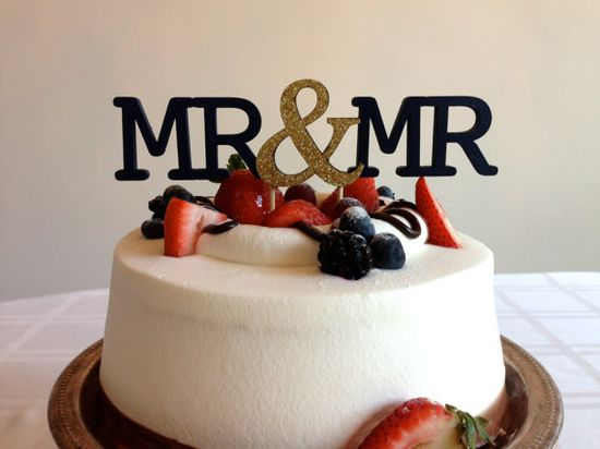 Mr & Mr  Modern Wedding Cake Topper With Ampersand by CaroandCoco, $35.00