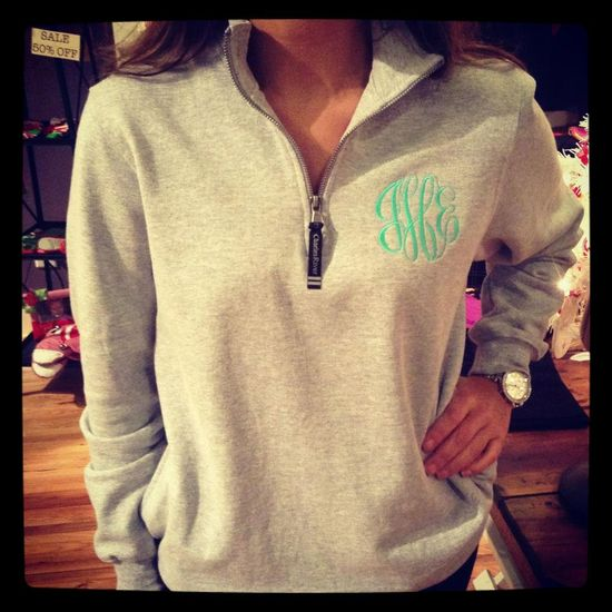 Monogrammed Quarter-Zip Sweatshirt. $40.00, via Etsy. I WANT I WANT I WANT!!! In this color and all!
