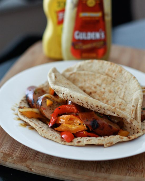Grilled Italian Chicken Sausage and Peppers Pita Sandwiches