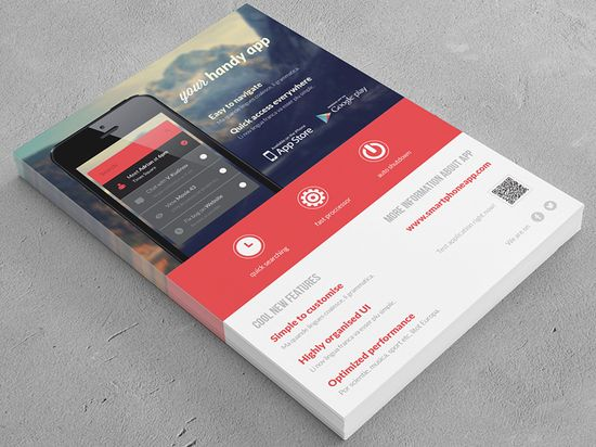 Mobile Application / Phone App flyer - by Rounded Hexagon