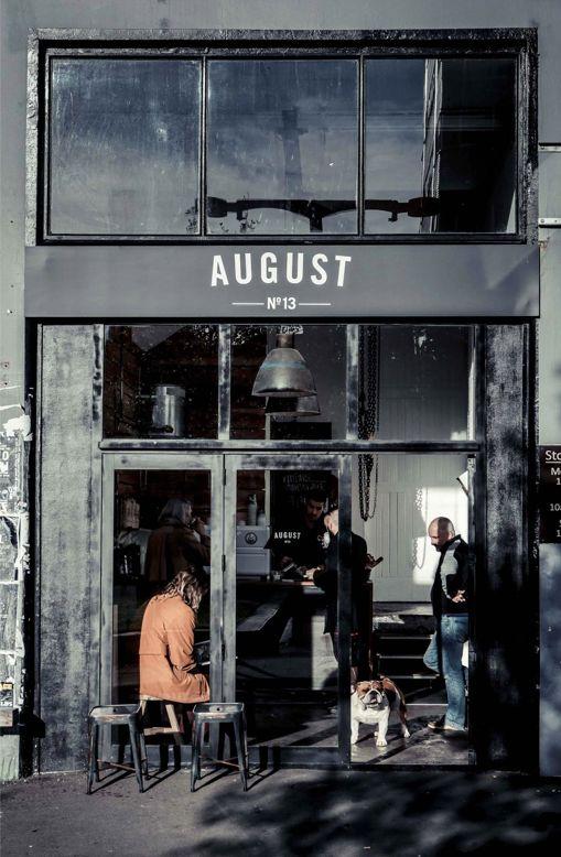 August--beautiful black café front