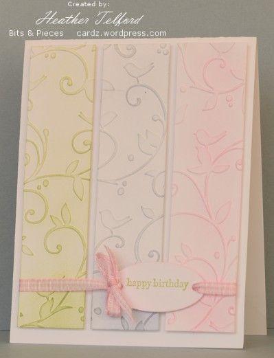 Embossing folder striped card