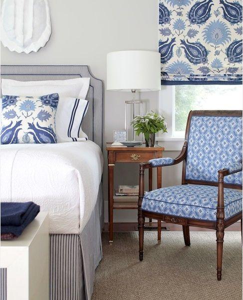 Crisp blue and white bedroom