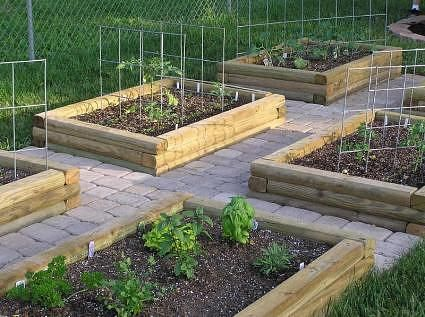 raised beds on brick pavers/cement