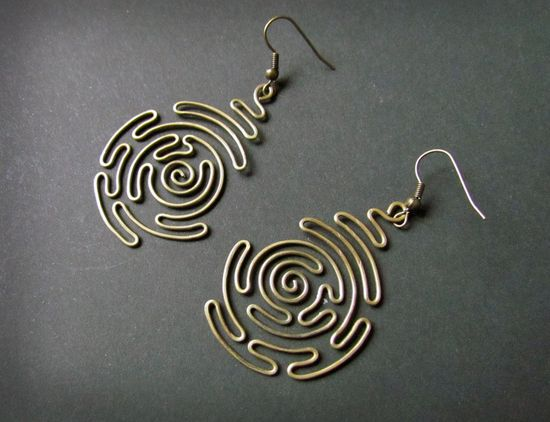 Spiral Labyrinth, Wire Wrapped Brass Earrings     NICE
