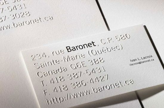 White on white business card _