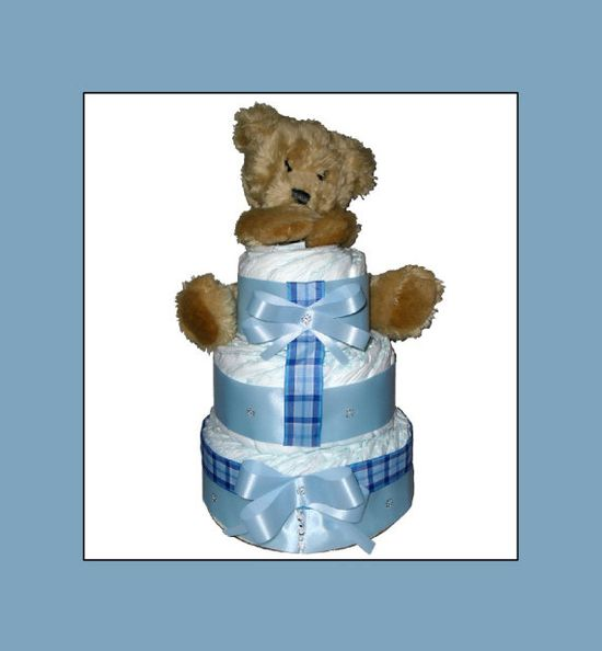 Baby Boy Diaper Cake with Teddy Bear by LittleBBaby on Etsy, $45.00