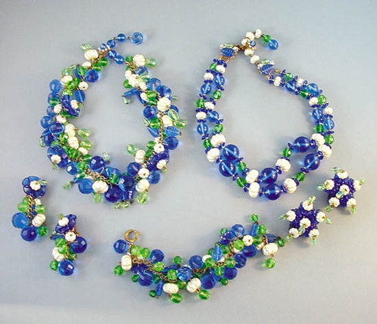 Blue and pearl necklaces and earrings. According to Larry Vrba, this line is a Hess design. Circa 1960. Miriam  Haskell