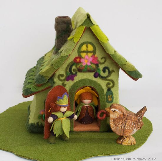 Spring Cottage Gnome Home made of Felt by willodel on Etsy, $82.00