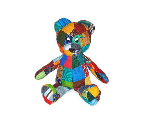 Patchwork Bear Stuffed Animal  Perfect for Boy or by malibuquilts
