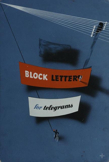 Block letters for telegrams