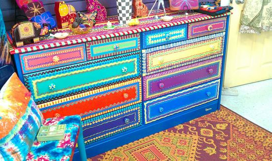 Hand painted furniture dresser.  One of a kind.