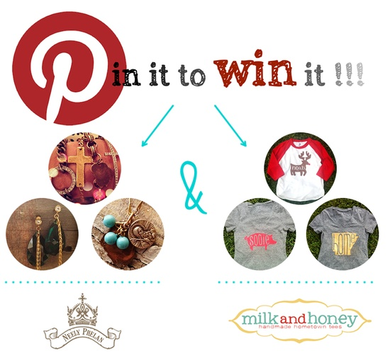 How to enter:    1. Start following @Milk and Honey & @Neely Phelan Jewelry on Pinterest!   (you're already following us, right?)  2. Next, start looking at our boards and repininng.  3. Make sure when you repin to Pinterest you TAG US-- @Milk and Honey and @Neely Phelan Jewelry in your description to be entered to win.   4. The more you pin, the more chances you have to win!   5. Contest ends November 24th @ noon!    GoodLuck!!