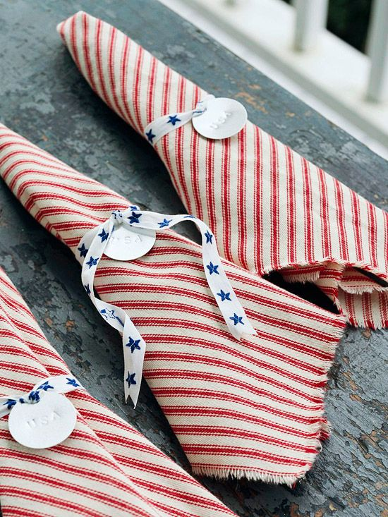 Show your patriotism this Fourth of July with these red, white and blue napkins. More fun serving ideas for a patriotic picnic: www.bhg.com/...