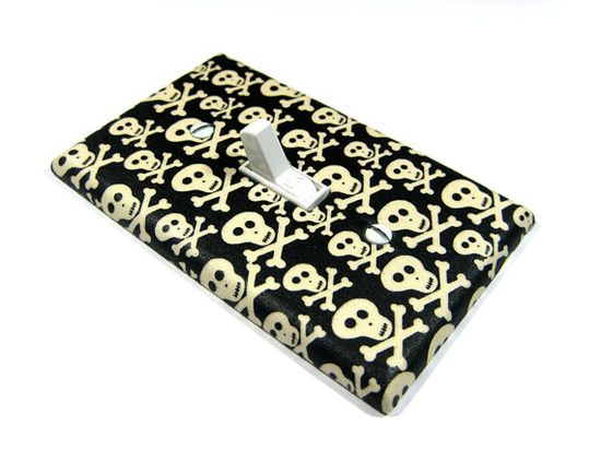 Black and White Light Switch Cover Skull Decor by ModernSwitch, $6.00