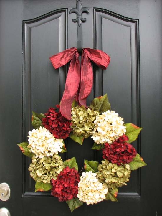 hydrangea holiday wreath...