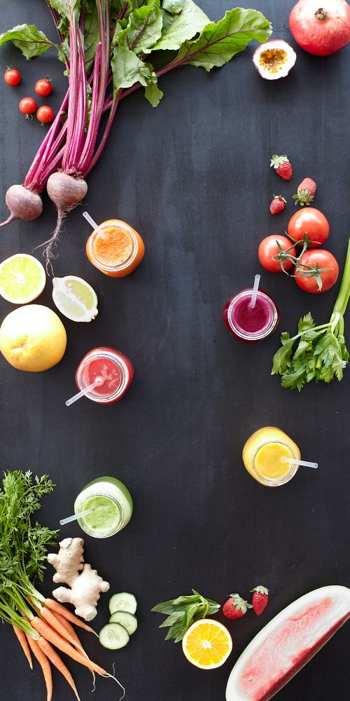Five juices guaranteed to put a spring back in your step: Purple Passion, Green Dream, Orange Sensation, Mellow Yellow & Pink Pizazz.