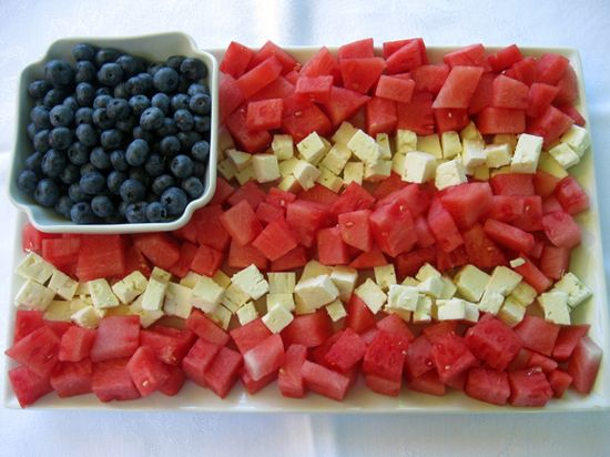 Fruit and cheese tray for 4th of July.