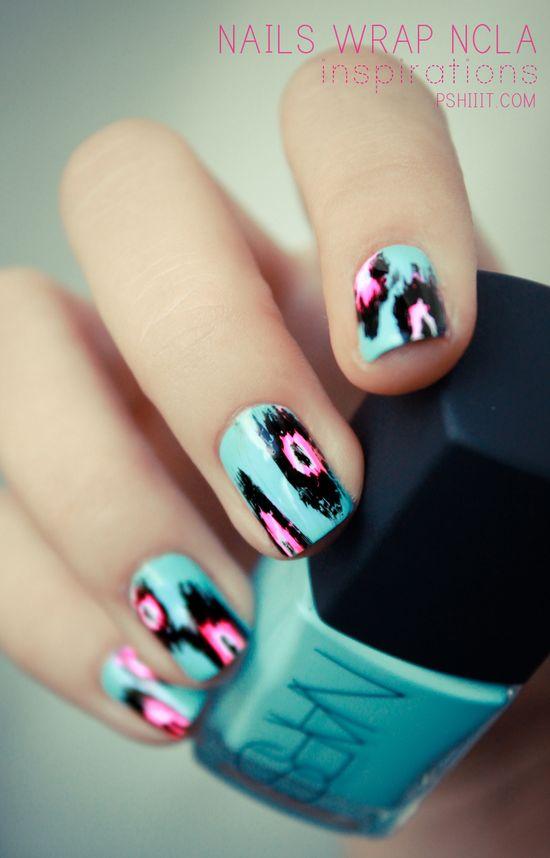 Ikat design nails.