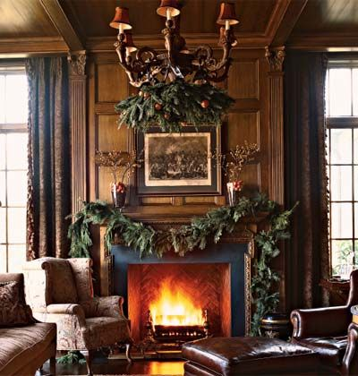 Simple, masculine mantle and chandelier detail - Southern Accents