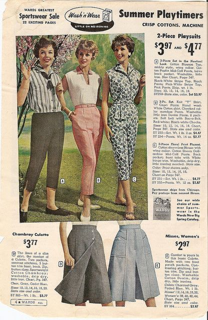 Want the cute pink pair of peddle pushers in the middle so much! #pants #summer #vintage #dress #retro #fashion #1950s #culottes