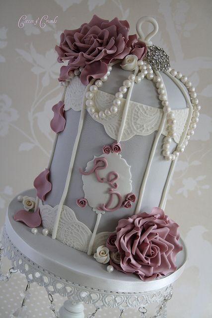 Birdcage Rosey & Pearl Wedding Cake ? cottonandcrumbs.c...