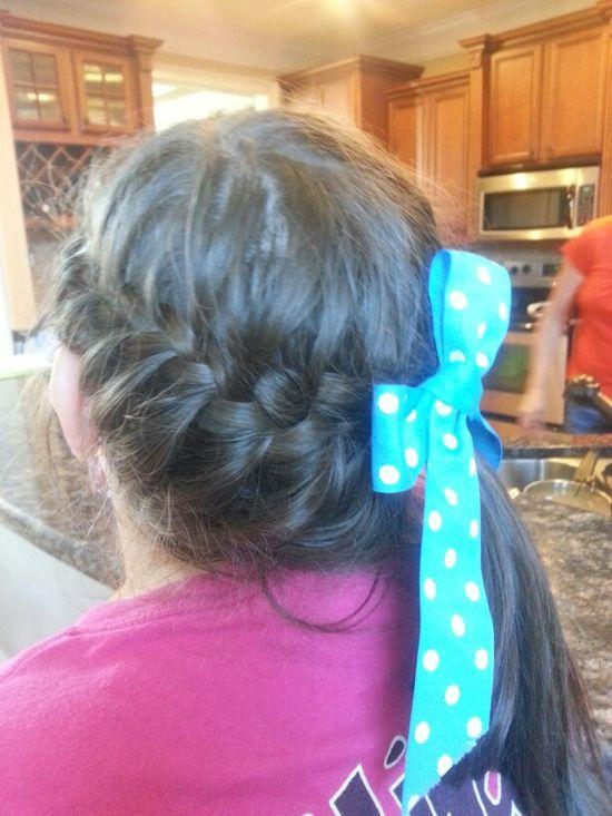 French braid. Bow. ?