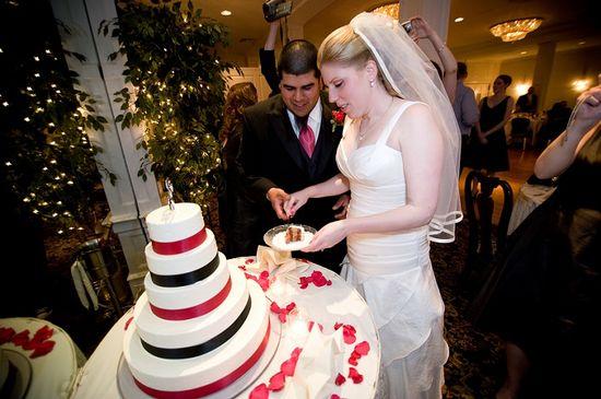 Nathan Desch Photography - wedding cake cutting, hot pink and black wedding cake