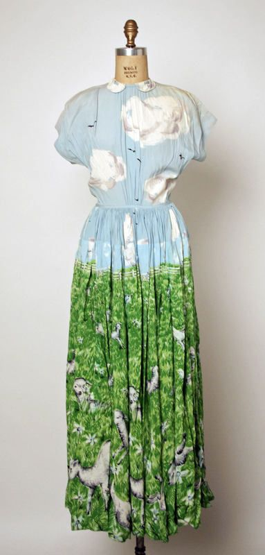 Gamboling Lambs silk dress by Gilbert Adrian; c. 1940s
