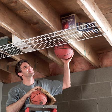 Create extra storage space by screwing wire closet shelving to joists in your garage or basement. Wire shelving is see-through, so you can easily tell what's up there. Depending on the width, wire shelves cost from $1 to $3 per foot at home centers.