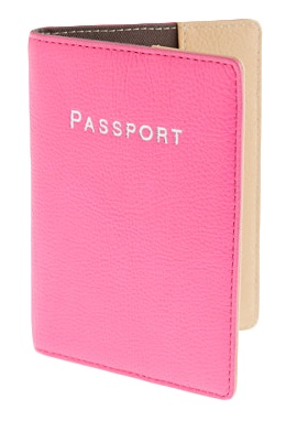 J.Crew pink leather passport case