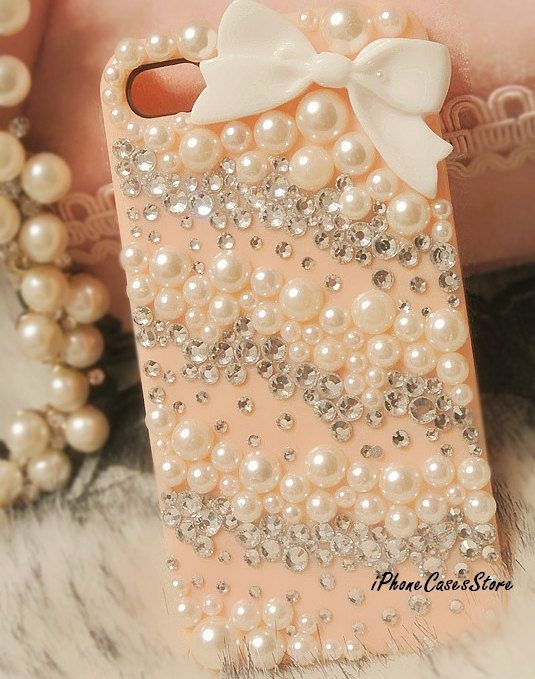 Bow iPhone case Pearl iPhone 4s case Crystal iPhone 4 4s case Bling iPone cases Pink White iPhone cover Custom Handmade Twill iPhone4 4s. $18.60, via Etsy.