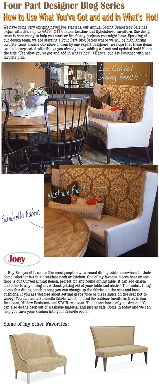 Loved the curved bench.  Love the two fabrics.  Love the table with wood tone & black.  So many possibilities