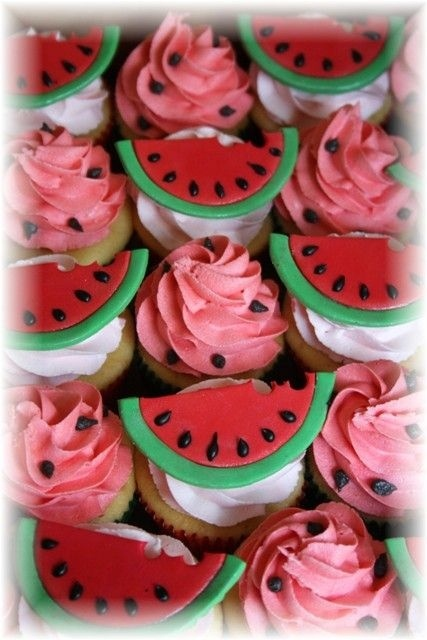 watermelon cupcakes for the picnic birthday party