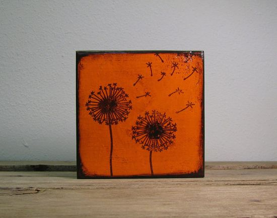 Orange Dandelion Flowers Painted Art BlockMatchBlox by MatchBlox, $29.00