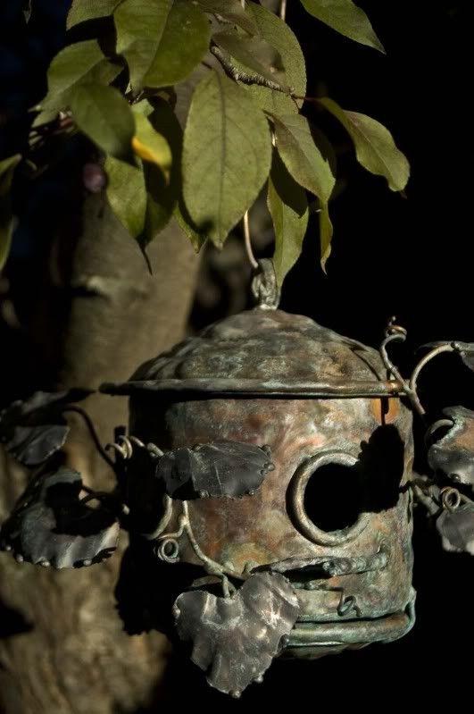 .metal birdhouse