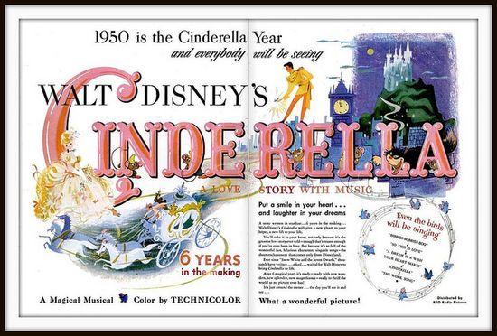 1950 Vintage Advert for Disney's cartoon film 'Cinderella'  for Life magazine