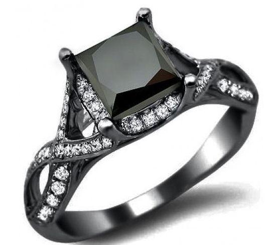 2.40ct Black Princess Cut Diamond Engagement Ring 18k Black Gold