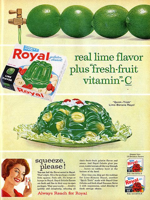 Can't say as though I ever had a craving for lime gelatine and bananas at the same time, but I'd be up for trying this quirky early 60s recipe sometime. #vintage #food #ad #1960s #gelatine #retro