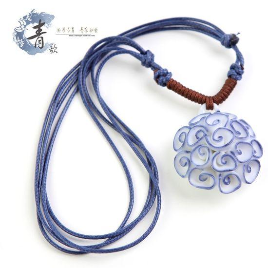 Jingdezhen blue necklace women hand-woven ceramic necklace pendant A27 Ceramicslife.com