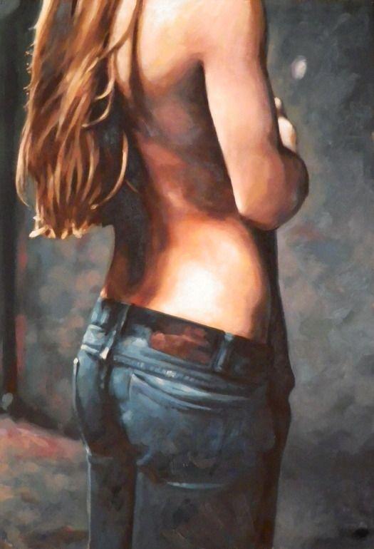 "Saatchi Online Artist: thomas saliot; Oil, Painting ""Dark jean's girl"""