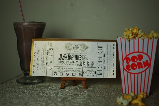 Wedding Invitation Cinema Ticket