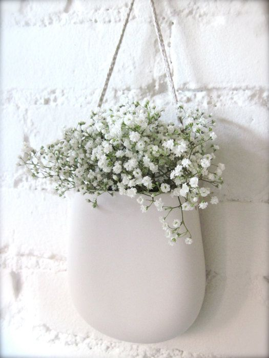 Simple White Porcelain Hanging Wall Pocket by Hideminy on Etsy, $49.00