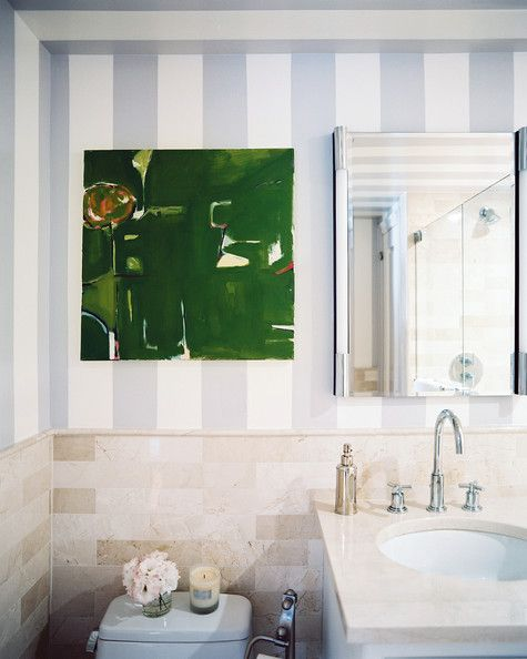 Wall Treatment Photo - Blue-and-white stripes in a bathroom
