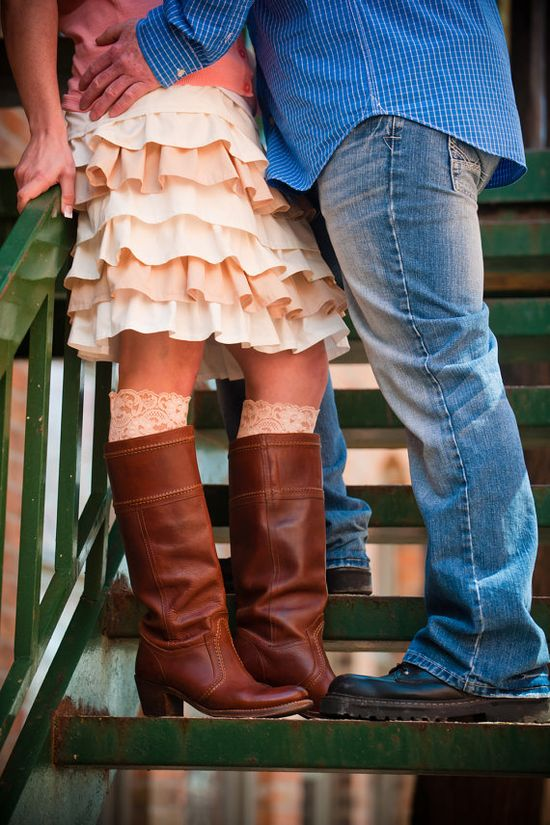 Lace topped socks, cute skirt, and boots OMG! I love it all!!